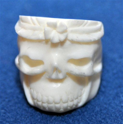 For Auction Bone Skull Ring Carved 0124 On Jun 26 2020 Captain Ahab S Antiques In Ny