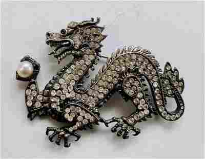 Dragon sterling pin /pearl and clear stones