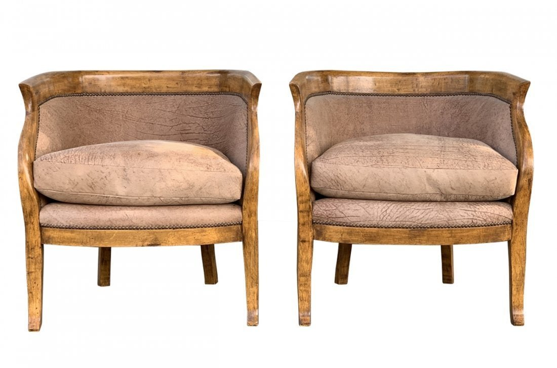 Pair of Barrel Back Chairs Upholstered in Brown Leather
