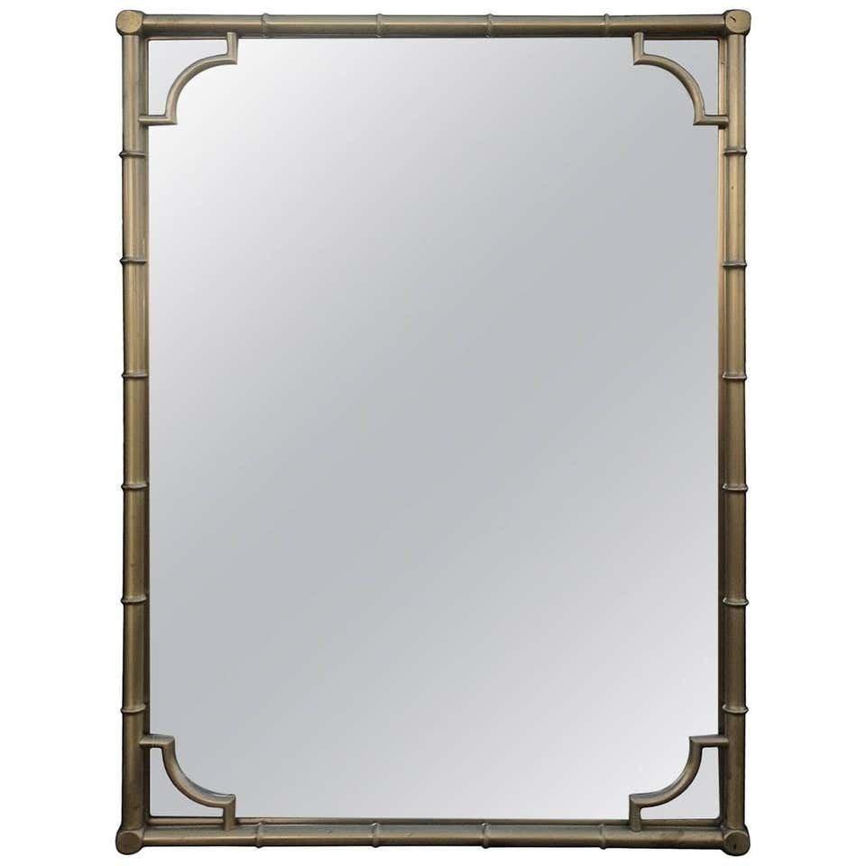 Regency style, Brass Faux Bamboo Wall Mirror