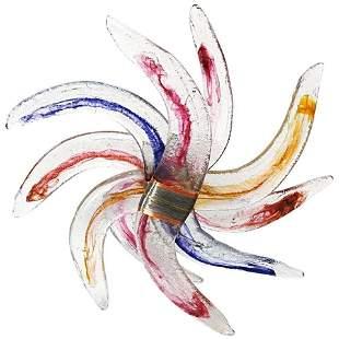 Monumental Blown Glass Sculpture Pinwheel Form