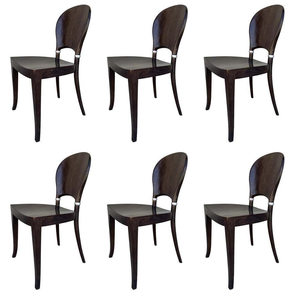 Set of Six Dining Chairs Made in Italy By Potocco Italy