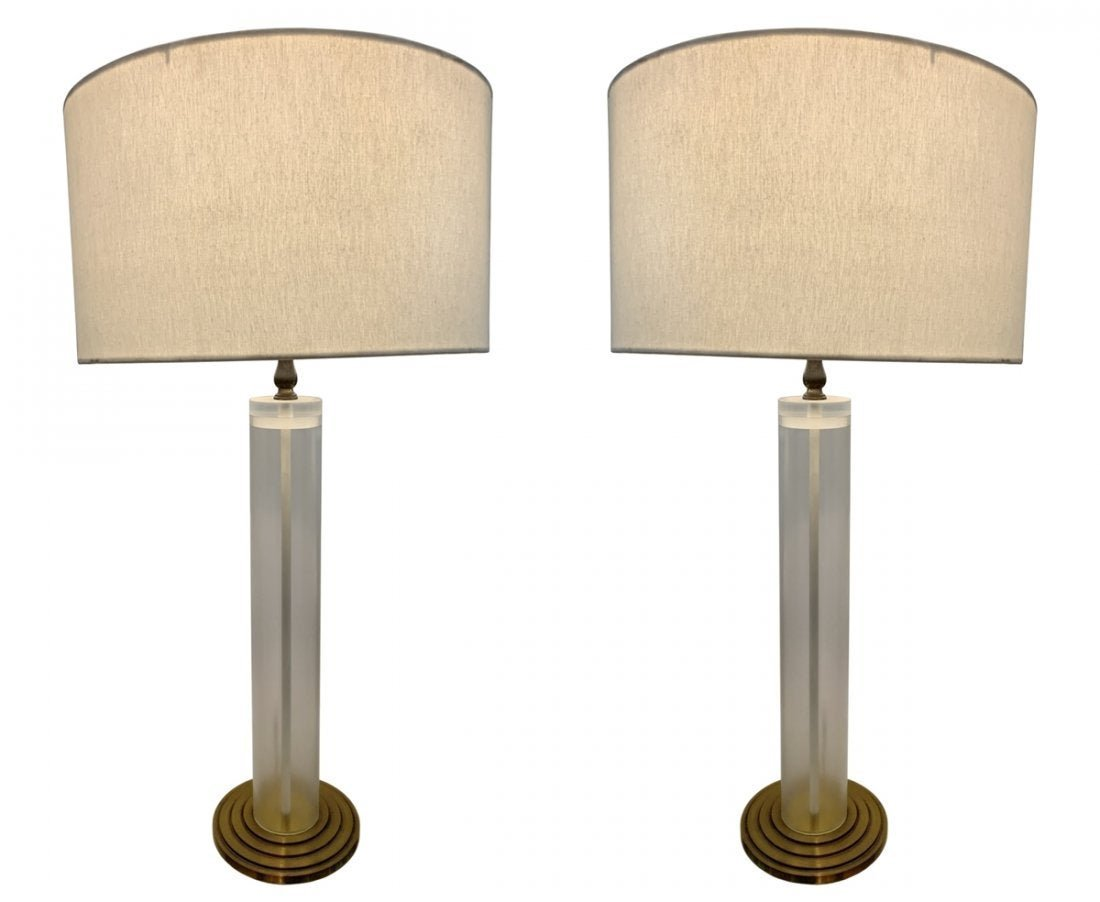 Pair of Lucite and Brass Table Lamps W/ Graduated Base