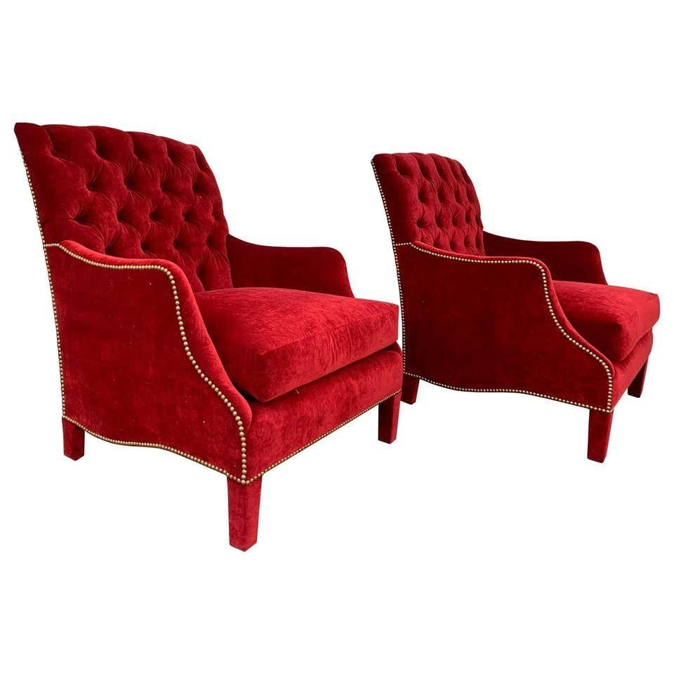 English Style Armchairs with Tufted Backs, Red Velvet