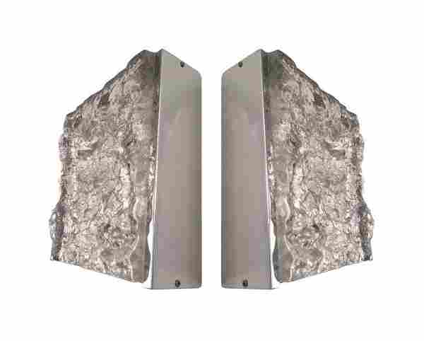 Pair of Italian Camer Glass Wall Sconces by Mazzega
