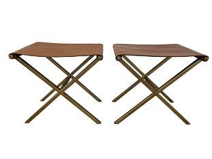 Pair of X frame Benches in Leather & Gold Tone Metal