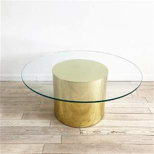 Dining Table Brass with a Pedestal Base by Curtis Jere