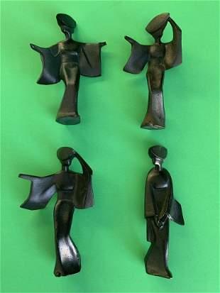 Set of 4 Vintage Cast Iron Japanese Geisha Figurines
