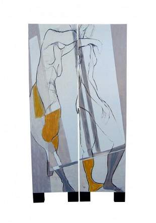 Oil on Canvas Room Divider, Nude Painting Signed