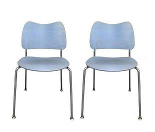 2 Stacking Chairs Made in Sweden by Lammhults Mobel AB