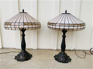 Tiffany Style Table Lamps in Bronze & Stained Glass