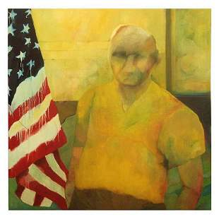"""The Patriot"" Oil on Canvas by Nancy Mozur, ca. 1968"