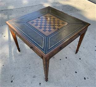 Game Table In Leather & Wood by Maitland Smith