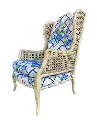 French Louis XV Wingback Bergere with Cane Weaved Sides