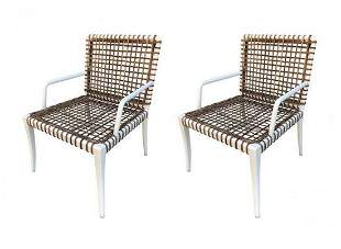Pair of Armchairs in Powder Coated Steel & Wicker