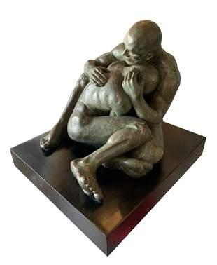 LOVE, Bronze Sculpture by Norma Goldberg Dated 77