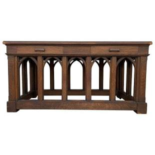 Early 1900s Arts & Crafts Library Table With Dedication