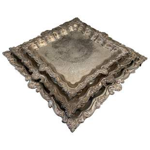 3 Nesting Serving Trays by Birmingham Silver Co