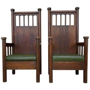 62 Inches tall Arts & Crafts Arm Chairs, Early 1900s