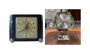 2 Vintage Clocks, 1 in Lucite & 1 Metal