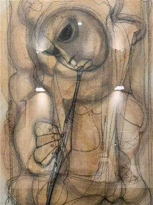 Painting of a Person Playing the Flute by Ben Macala