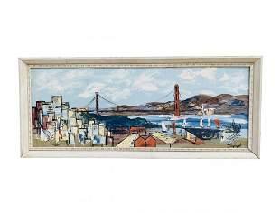 Golden Gate Bridge Painting Signed Bardot