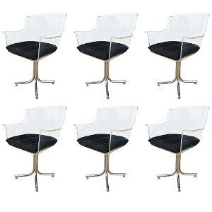 Set of Six Lucite and Chrome Chairs by Leon Rosen for P