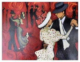 Oil on Board Titled Tango Del 100 by Marcela Ditomaso