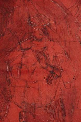 Oscar Murillo Figural Drawing Of 2 Males