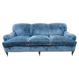 George Smith Signature Scroll Howard Arm 3-Seat Sofa