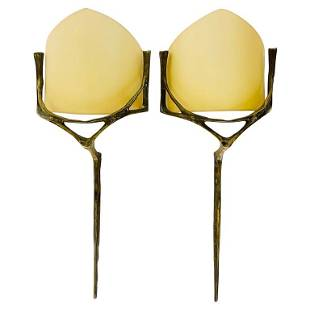 Pair of Wall sconces in Bronze,& Brass w/ Linen Shades