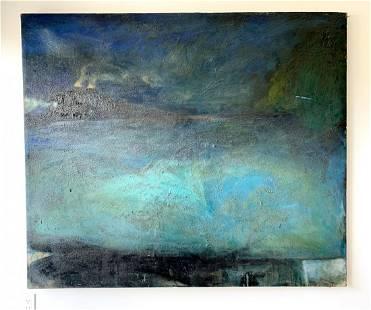 Oil on Canvas titled FREEWAY/TRAIN by Daniel Brice 1984
