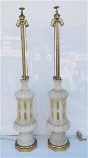 Monumental pair of Marble Lamps made in Italy