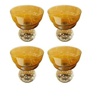 Four Amber Glasses With Controlled Bubbles by Erickson