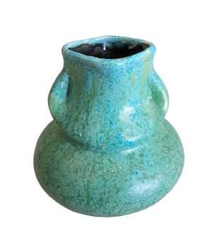 1960's Squat Ceramic Vase with Dual Handles