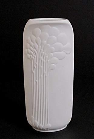 German Ceramic Vase W/ a Tulip Etching by A.K. Kaiser