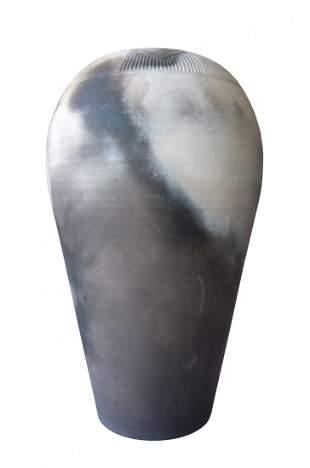 """Vintage Ceramic """"Raku"""" Vase W/ Indian Motifs by Muller"""