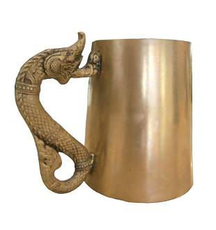Asian Style Brass Mug with a Dragon Handle Marked G.C.