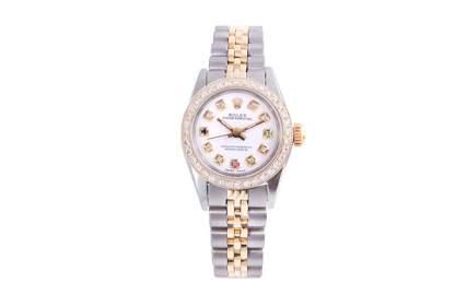 Rolex Ladies TT Oyster Perpetual - White Diamond Dial