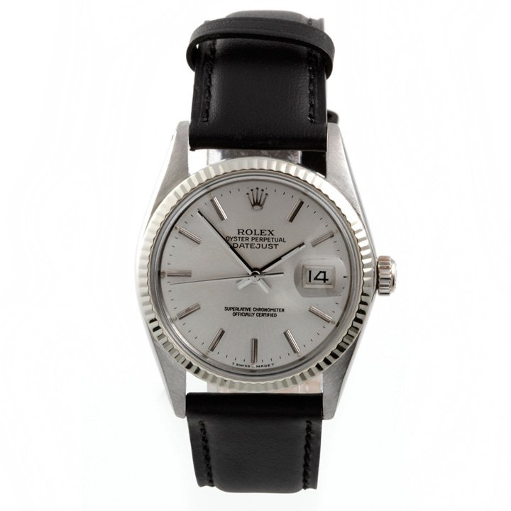 Rolex Mens 16014 Datejust - Silver Dial - Leather Strap