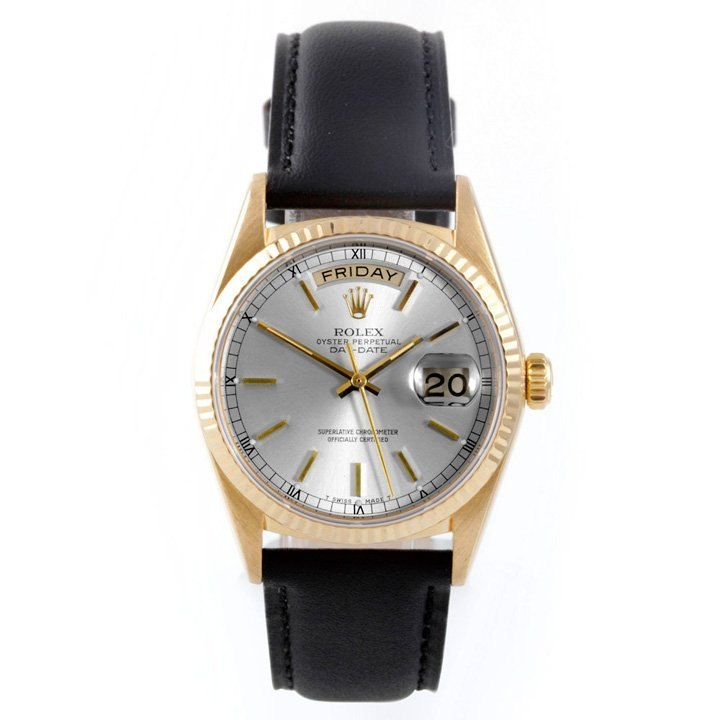 Rolex Mens 18K President -Silver Dial - Leather Strap