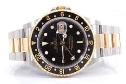 Rolex Mens 18K/SS GMT-Master II - Black Dial - 16713