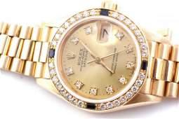 Rolex Ladies 18K President - Sapphire/Diamonds 69138