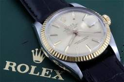 Rolex Mens Datejust - Champagnne Dial - Leather Strap