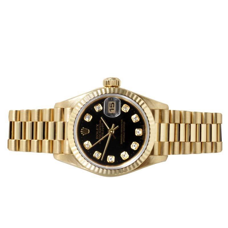 Rolex Ladies 18K Gold President - Black Diamond Dial