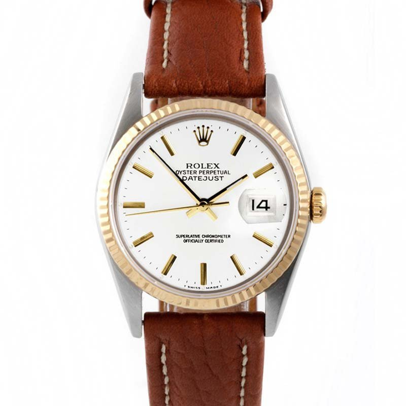 Rolex Mens 2tone Datejust - White Dial - Leather Strap