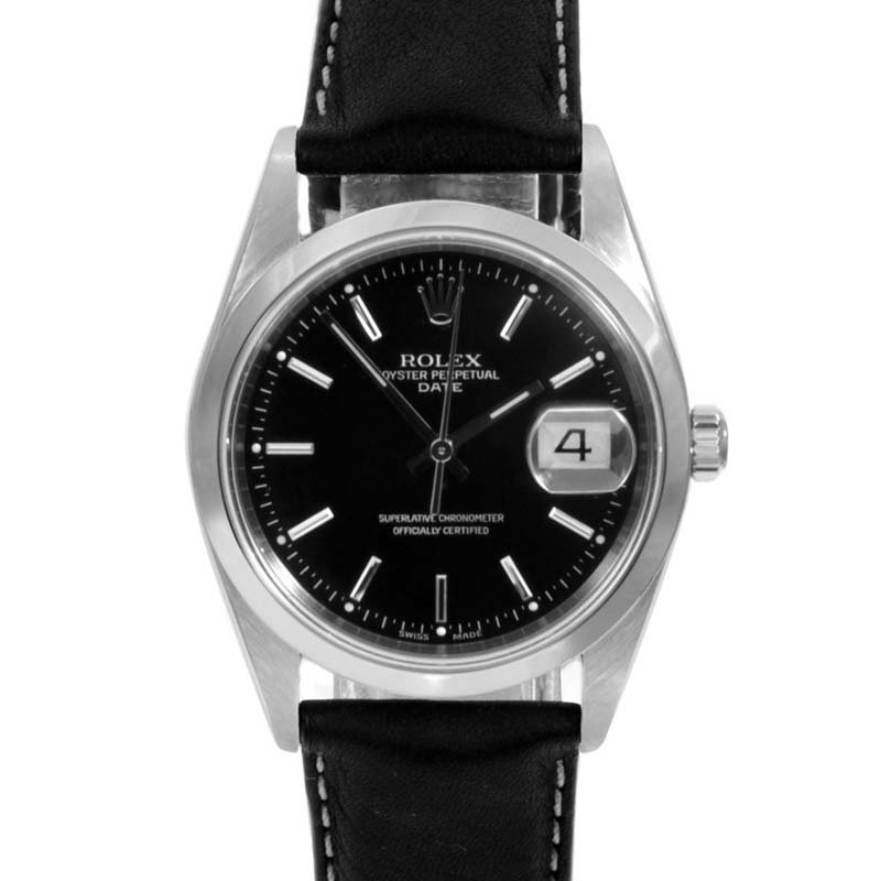 Rolex 34mm SS Date - Black Dial / Leather Strap