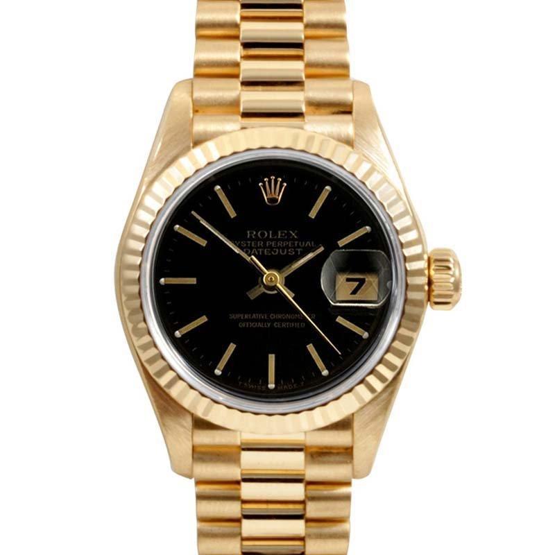 Rolex Ladies 18K Gold President - Black Dial 69178