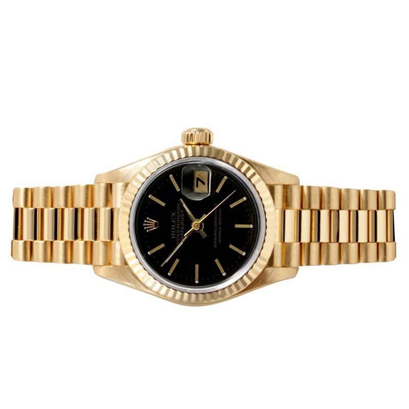 Rolex Ladies 18K Gold President - Black Dial 69178 - 2
