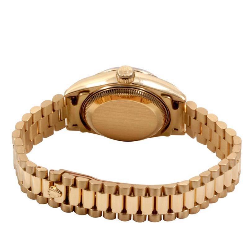 Rolex Ladies 18K Gold President - Black Dial 69178 - 3